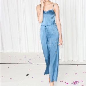 & Other Stories blue jumpsuit 100% Silk